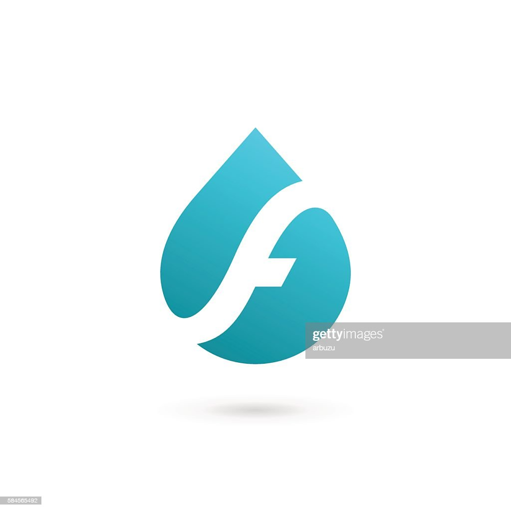 Letter F with water drop icon