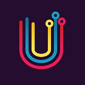 U letter formed by electric line.