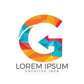 Letter G arrow icon vector design template.
