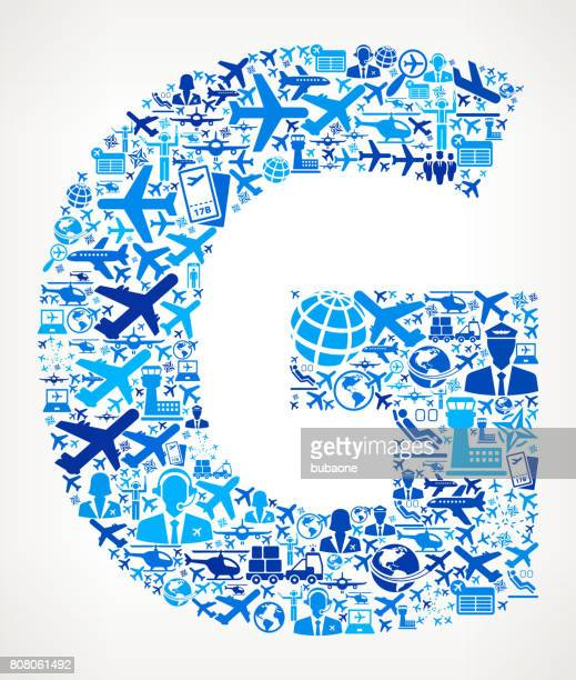 Letter G Aviation and Air Planes Vector Graphic