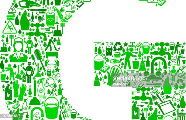 letter g cleaning and chores vector icon pattern - gesturing stock illustrations