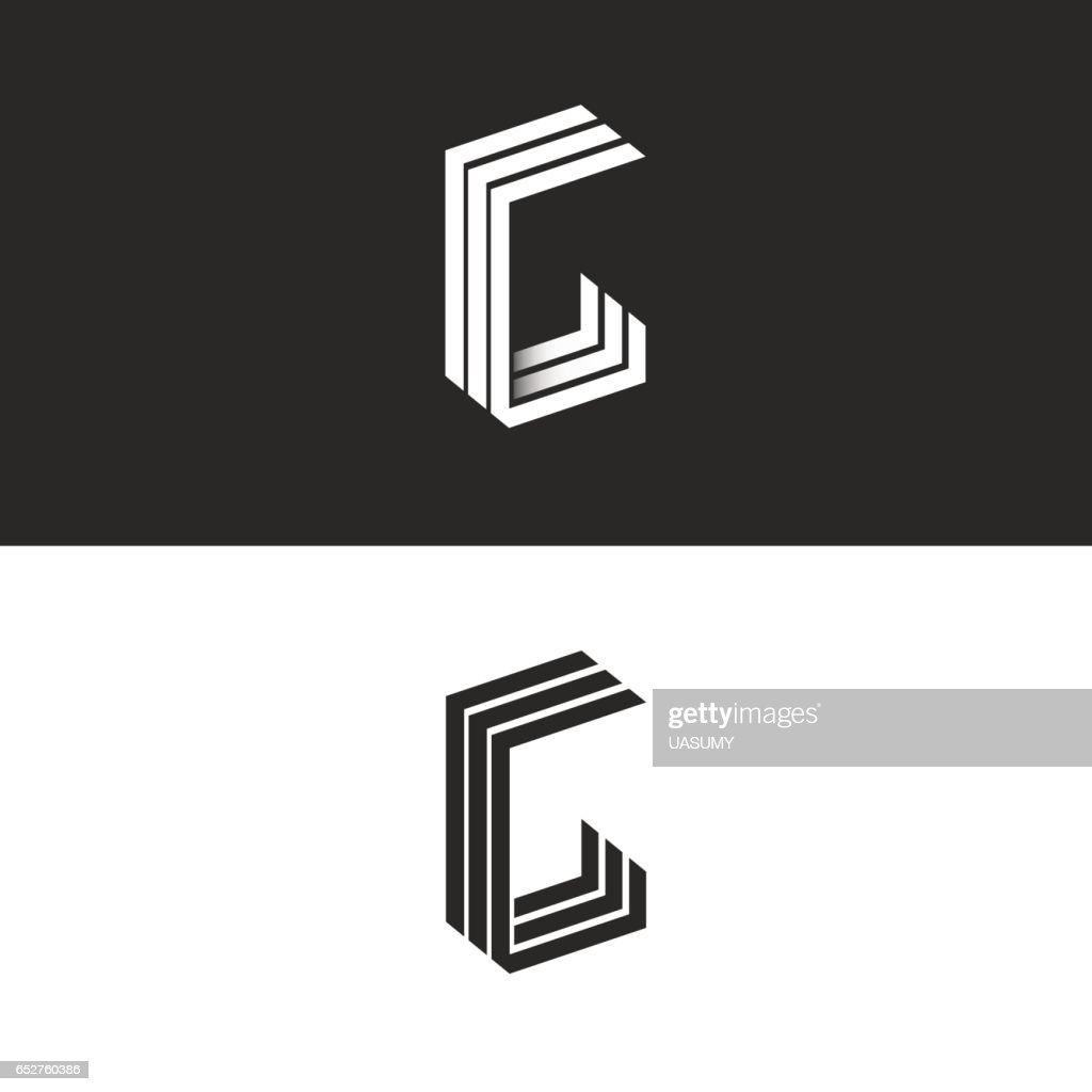 Le célèbre Monogramme Logo Lettre G Jeu De Point De Vue Noir Et Blanc Forme @EG_66