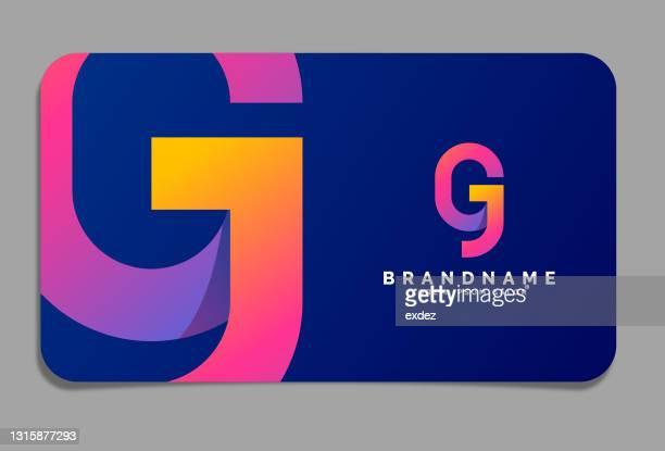 illustrations, cliparts, dessins animés et icônes de logo de la lettre g sur la carte de visite - abc
