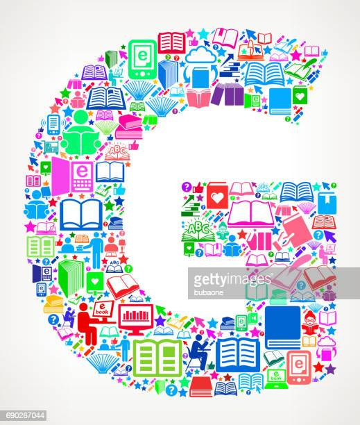 Letter G Reading Books and Education Vector Icons Background