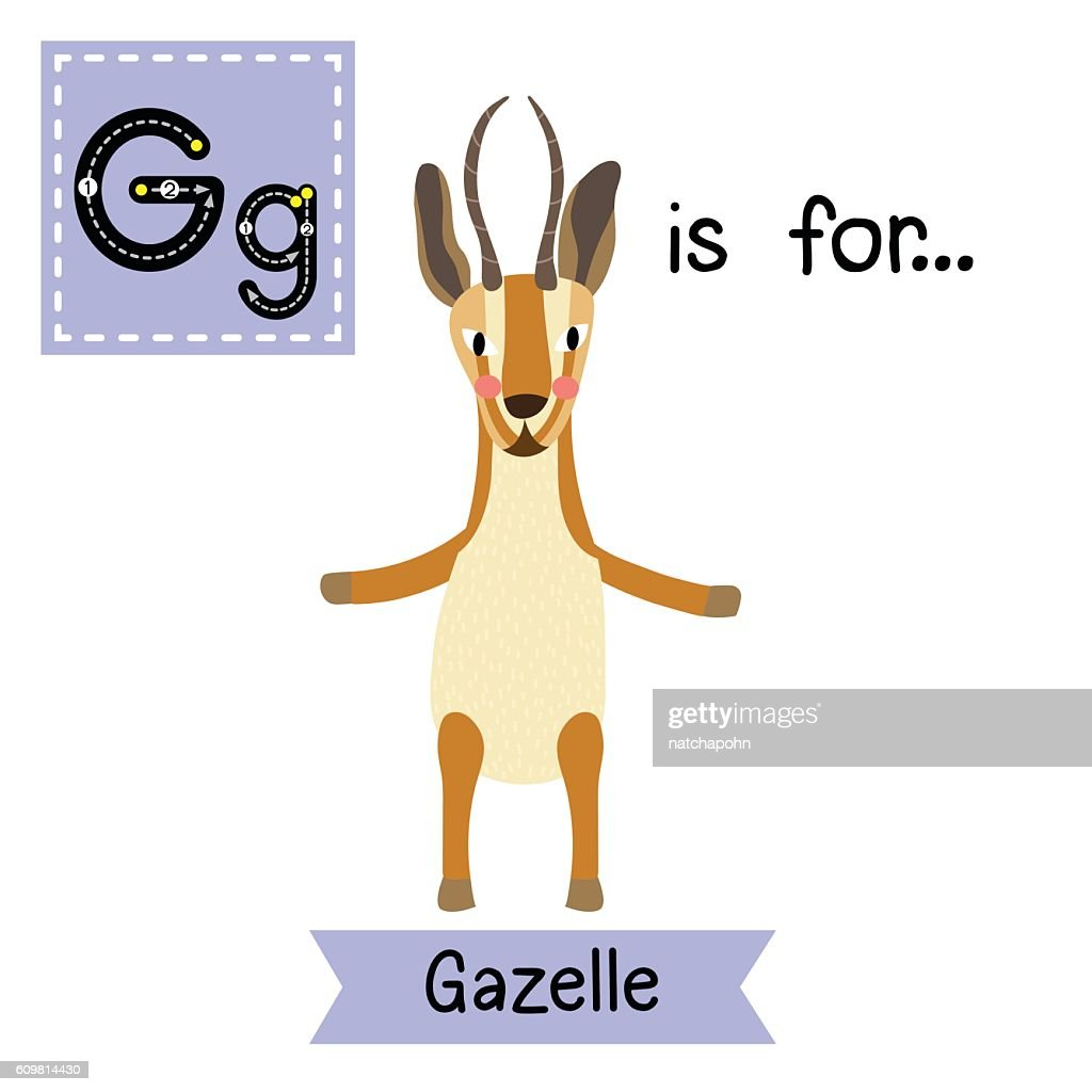 Letter G tracing. Gazelle standing on two legs.