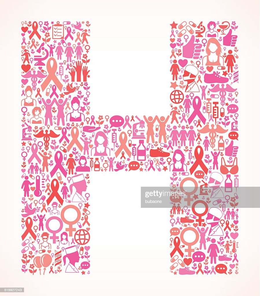 Letter H Breast Cancer Awareness Royalty Free Vector Art Pattern ...