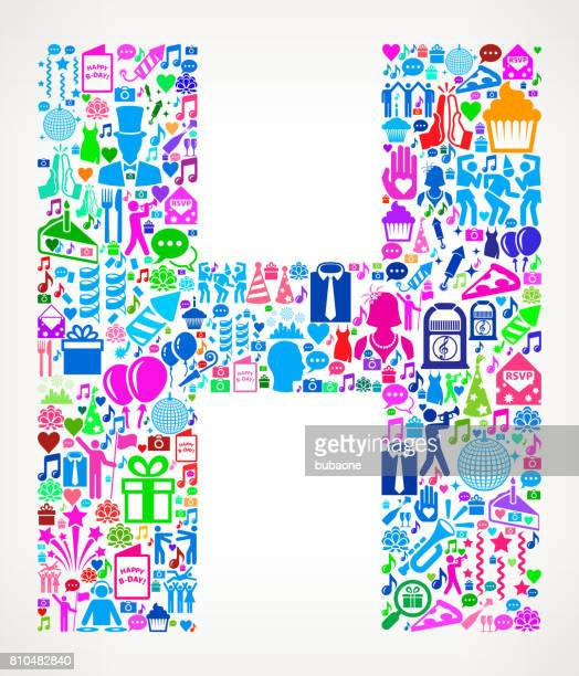letter h happy birthday celebration vector icon pattern