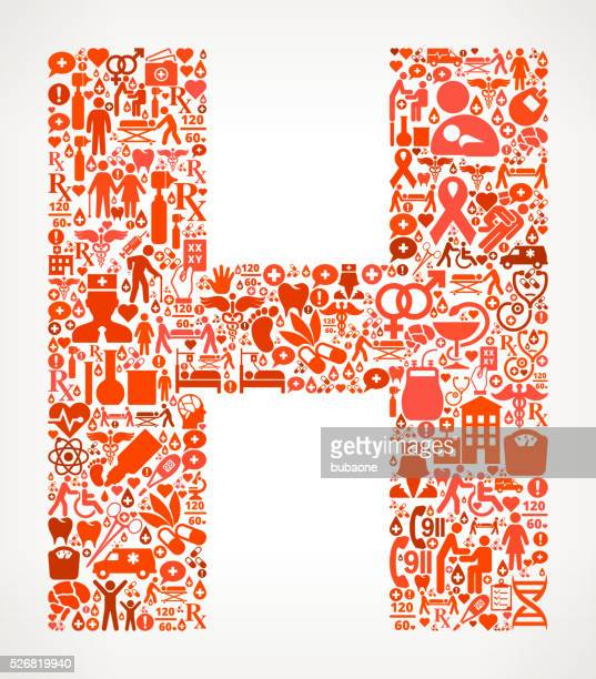 letter h healthcare and medical red icon pattern - cardiac conduction system stock illustrations