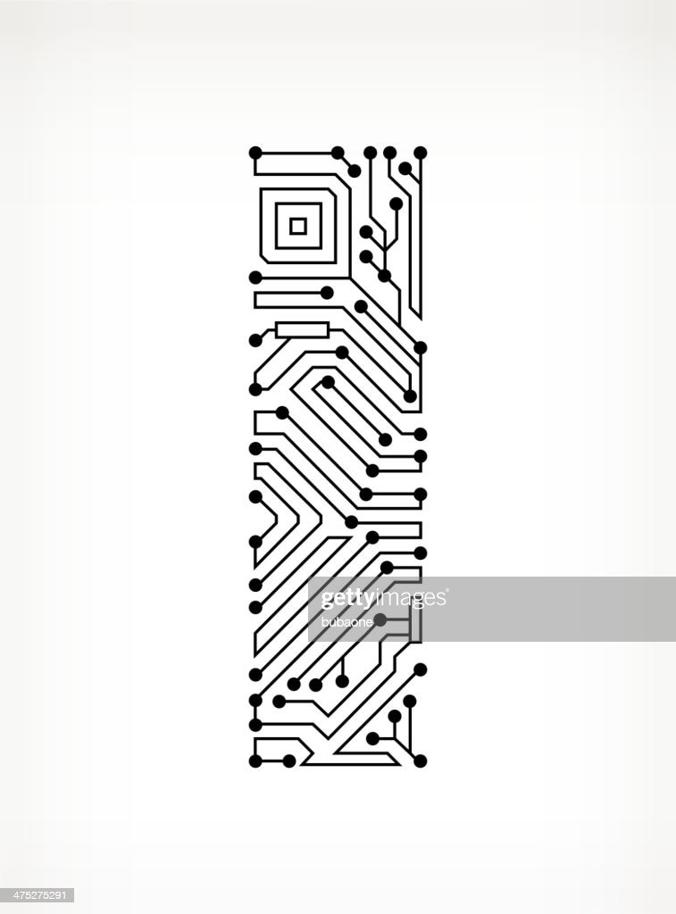 letter i circuit board on white background vector art