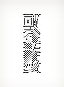 Letter I Circuit Board on White Background