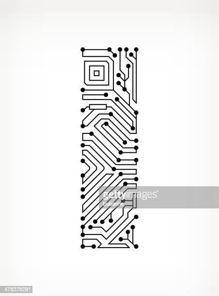 レター i 回路基板に白背景 - 回路基板点のイラスト素材/クリップアート素材/マンガ素材/アイコン素材