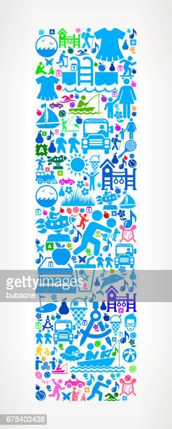 letter i family vacation and summer fun icons background - letter i stock illustrations