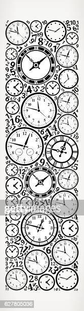 Letter I on Time and Clock Vector Icon Pattern