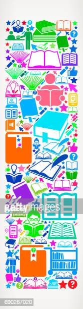 Letter I Reading Books and Education Vector Icons Background
