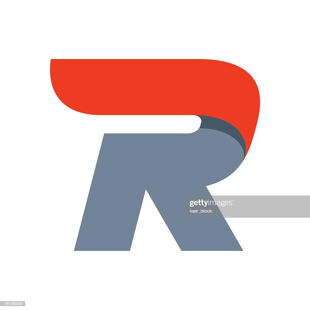 R letter icon design template.