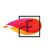 F letter icon in square frame at fire flame background.
