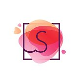 S letter icon in square frame at pink watercolor background.