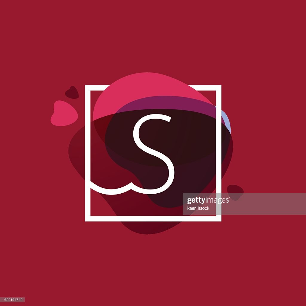 S letter icon in square frame at watercolor background