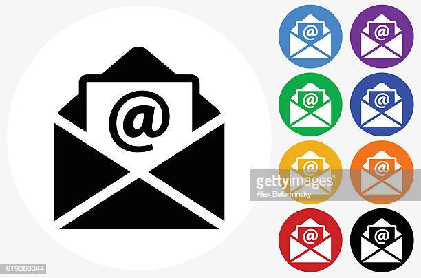 letter icon on flat color circle buttons - e mail stock illustrations