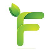 F letter icon with green leaves eco icon, volume icon