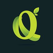 Q letter icon with green leaves.