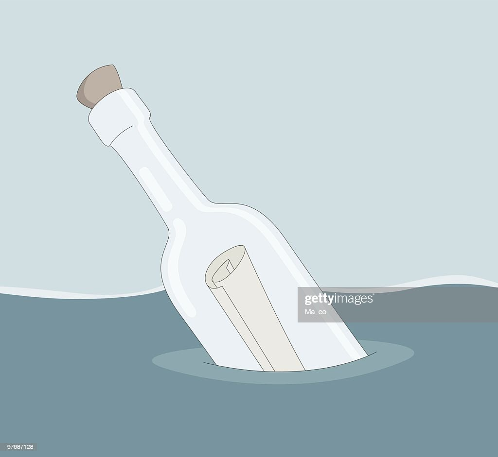 letter in a bottle vector art