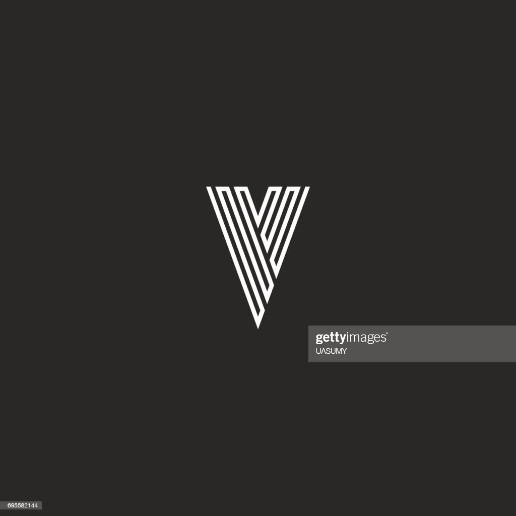 V letter initial monogram, thin line black and white minimal design element business card emblem idea, simple stripes hipster graphic identity mark