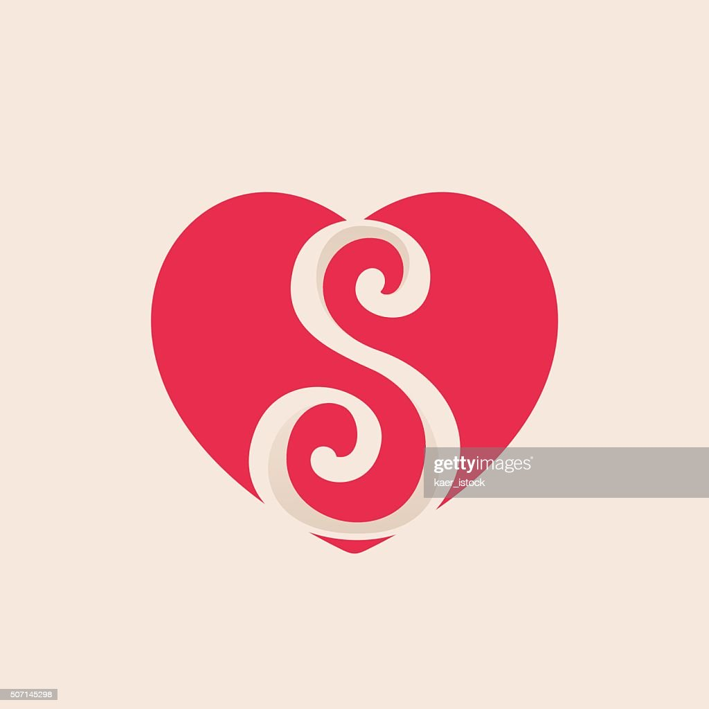 S letter inside heart for st. Valentine's day design.