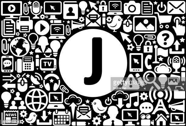 ilustrações de stock, clip art, desenhos animados e ícones de letter j icon black and white internet technology background - letraj