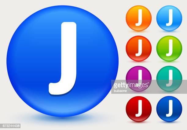 ilustrações de stock, clip art, desenhos animados e ícones de letter j icon on shiny color circle buttons - letraj