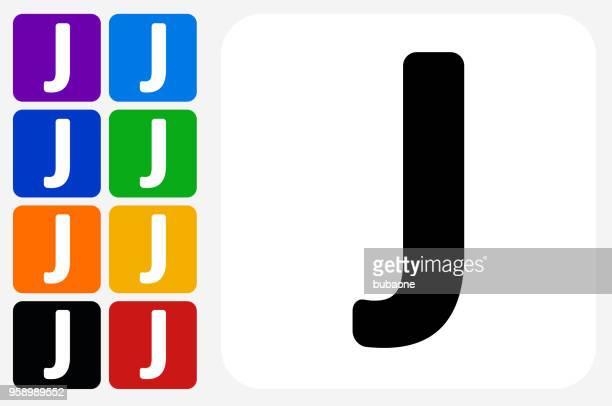 ilustrações de stock, clip art, desenhos animados e ícones de letter j icon square button set - letraj