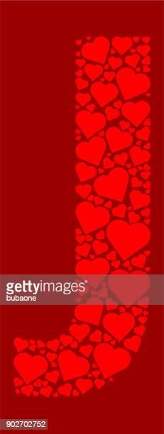 ilustrações de stock, clip art, desenhos animados e ícones de letter j icon with red hearts love pattern - letraj