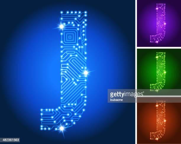 ilustrações de stock, clip art, desenhos animados e ícones de letra j em circuito conjunto de cor azul - letraj