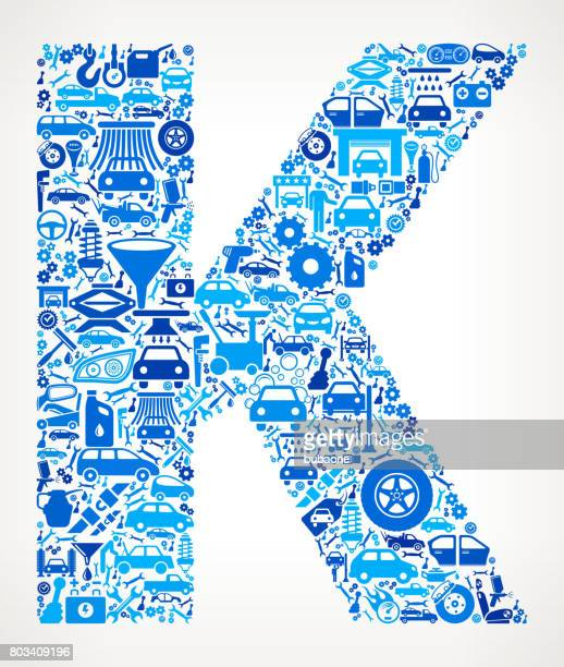 Letter K Auto repair cars and automotive Icons Background