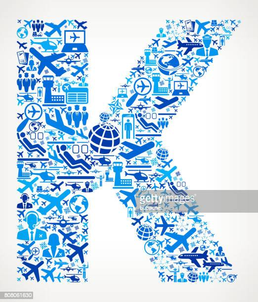 Letter K Aviation and Air Planes Vector Graphic