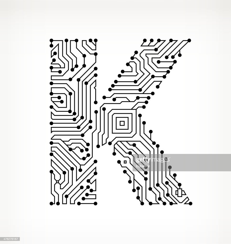 letter k circuit board on white background vector art