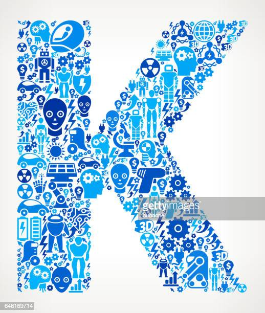 letter k robots and robotics automation pattern - {{relatedsearchurl('racing')}} stock illustrations, clip art, cartoons, & icons