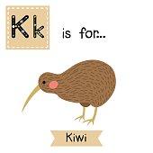 Letter K tracing. Kiwi bird.