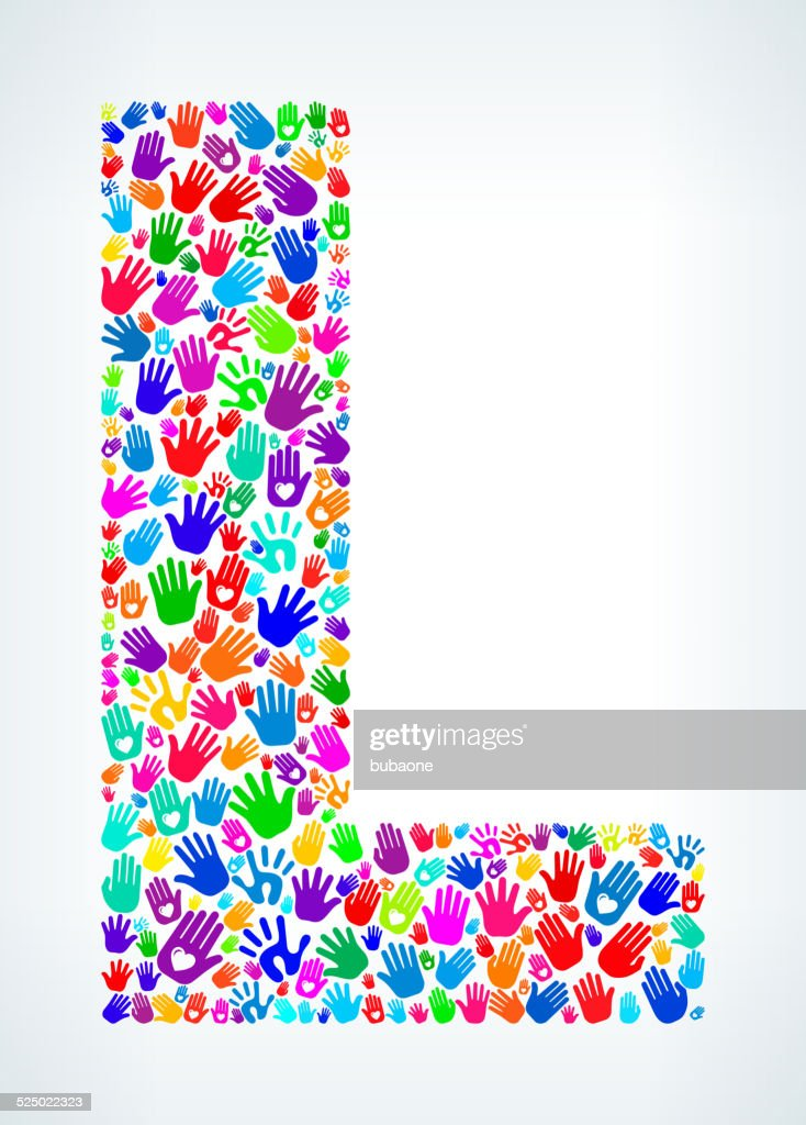 Letter L On Hands Pattern White Background stock