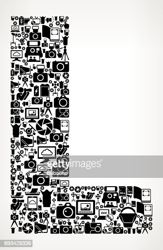 Letter L Photography Black And White Vector Icons Background Stock