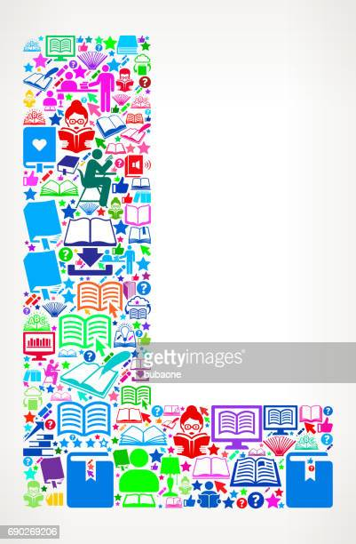 Letter L Reading Books and Education Vector Icons Background