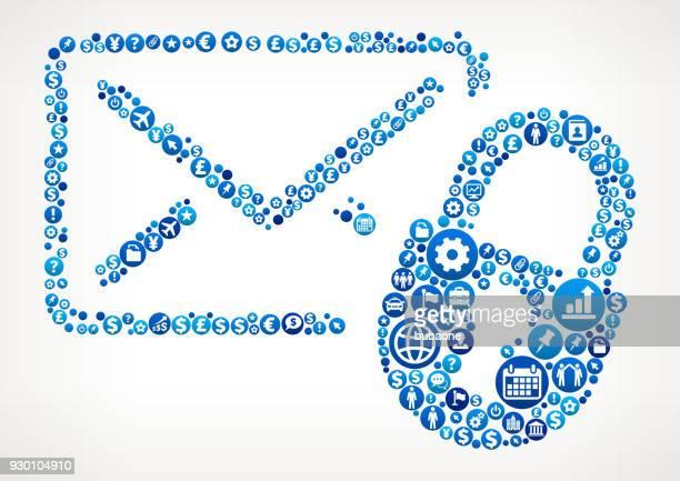 stockillustraties, clipart, cartoons en iconen met brief & lock-business and finance blauwe pictogram patroon - e mail