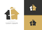 E letter logo design. Real Estate letter E in home vector icon.