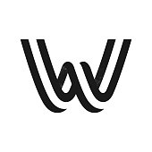 W letter logo formed by two parallel lines with noise texture.