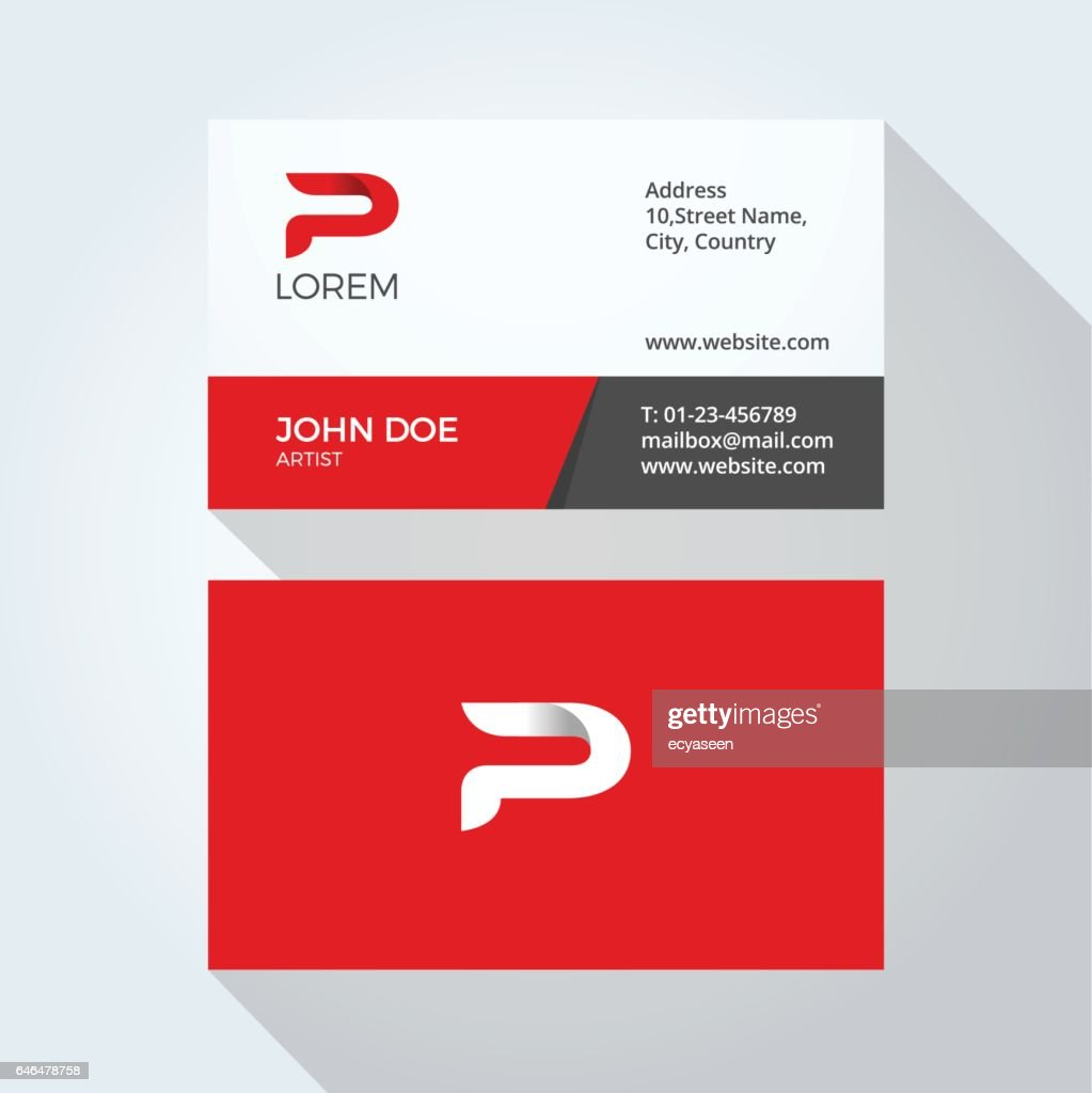 P Letter Logo Modern Simple Abstract. Corporate Business card design template