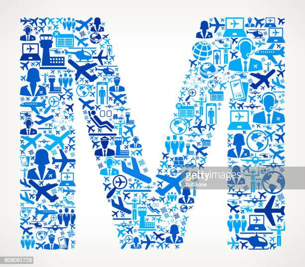 Letter M Aviation and Air Planes Vector Graphic