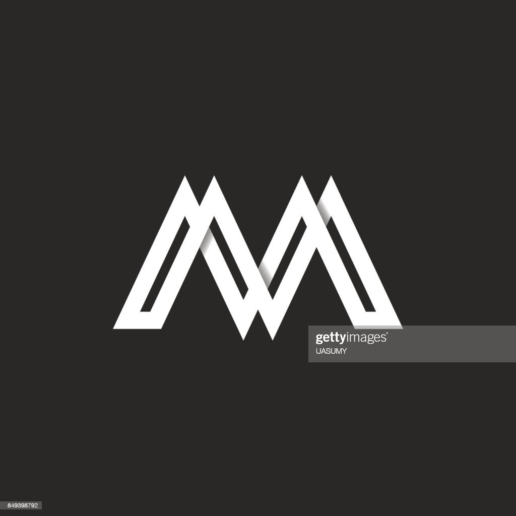Letter M Capital Modern Monogram Paper Ribbon Material Design Style Identity Initial Emblem Mockup Overlapping White Stripes With Shadows