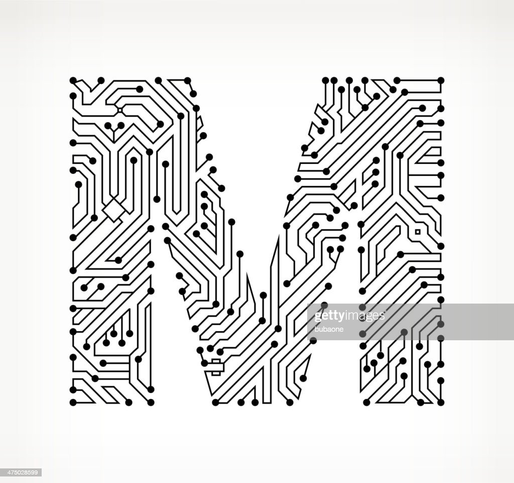 letter m circuit board on white background vector art
