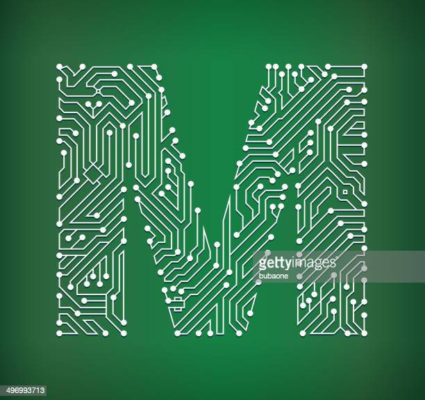 letter m circuit board royalty free vector art background - letter m stock illustrations, clip art, cartoons, & icons