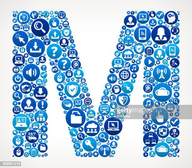 letter m computer tech support vector icon pattern - letter m stock illustrations, clip art, cartoons, & icons